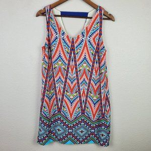 Pink Owl Sleeveless Multi Color Dress Sz Small